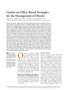 Update on Office-Based Strategies for the Management of Obesity