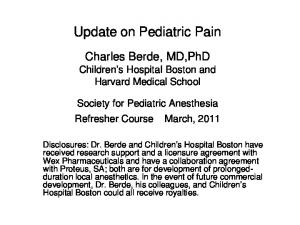 Update on Pediatric Pain