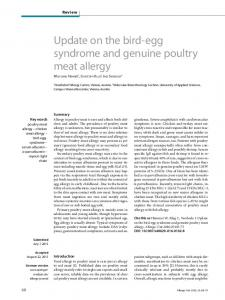 Update on the bird-egg syndrome and genuine poultry meat allergy