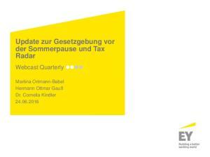 Update zur Gesetzgebung vor der Sommerpause und Tax Radar