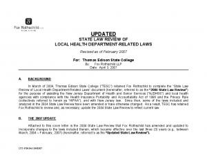 UPDATED STATE LAW REVIEW OF LOCAL HEALTH DEPARTMENT RELATED LAWS