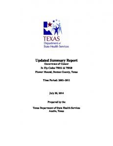 Updated Summary Report Occurrence of Cancer In Zip Codes & Flower Mound, Denton County, Texas