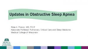 Updates in Obstructive Sleep Apnea