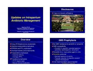 Updates on Intrapartum Antibiotic Management