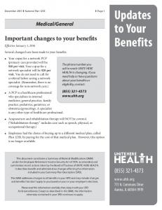 Updates to Your Benefits