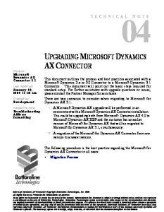 UPGRADING MICROSOFT DYNAMICS AX CONNECTOR
