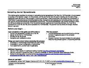 Uploading Journal Spreadsheets. Before you begin