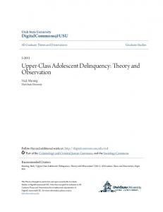 Upper-Class Adolescent Delinquency: Theory and Observation