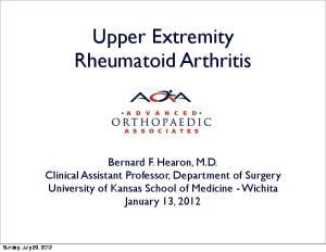 Upper Extremity Rheumatoid Arthritis