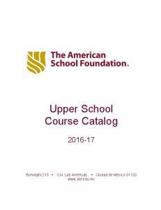 Upper School Course Catalog