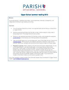 Upper School summer reading 2015