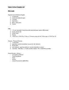 Upper School Supply List. 9th Grade