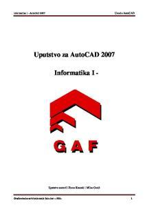 Uputstvo za AutoCAD Informatika I -