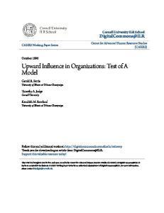 Upward Influence in Organizations: Test of A Model
