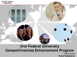 Ural Federal University Competitiveness Enhancement Program. UrFU rector Victor Koksharov