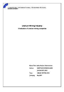 Uranium Mining Industry - A valuation of uranium mining companies