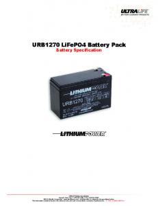 URB1270 LiFePO4 Battery Pack Battery Specification