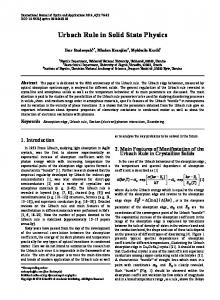 Urbach Rule in Solid State Physics