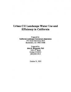 Urban CII Landscape Water Use and Efficiency in California