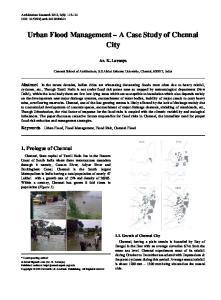 Urban Flood Management A Case Study of Chennai City
