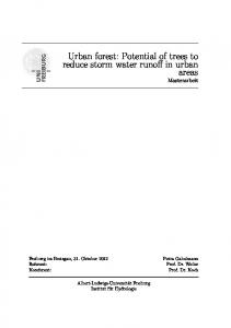 Urban forest: Potential of trees to reduce storm water runoff in urban areas