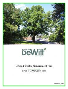 Urban Forestry Management Plan