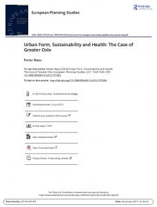 Urban Form, Sustainability and Health: The Case of Greater Oslo