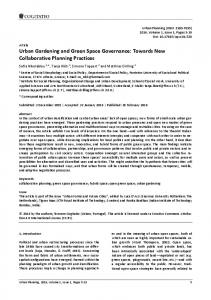 Urban Gardening and Green Space Governance: Towards New Collaborative Planning Practices