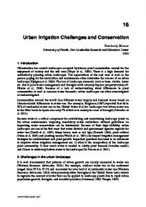 Urban Irrigation Challenges and Conservation