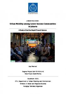 Urban Mobility among Lower Income Communities in Jakarta