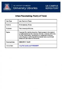 Urban Placemaking: Poetry of Travel
