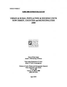 URBAN & RURAL POPULATION & HOUSING UNITS NEW JERSEY, COUNTIES and MUNICIPALITIES 2000