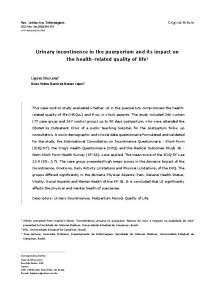 Urinary incontinence in the puerperium and its impact on the health-related quality of life 1