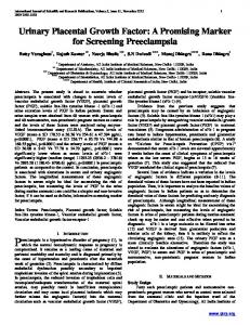 Urinary Placental Growth Factor: A Promising Marker for Screening Preeclampsia