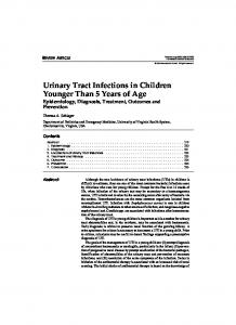 Urinary Tract Infections in Children Younger Than 5 Years of Age Epidemiology, Diagnosis, Treatment, Outcomes and Prevention
