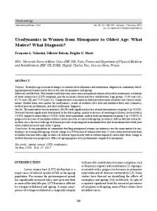 Urodynamics in Women from Menopause to Oldest Age: What Motive? What Diagnosis?