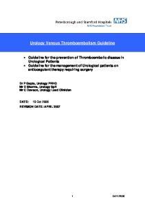 Urology Venous Thromboembolism Guideline