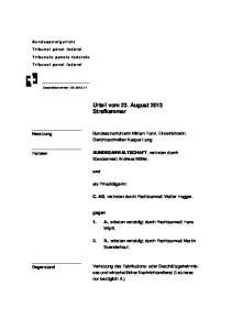 Urteil vom 23. August 2013 Strafkammer