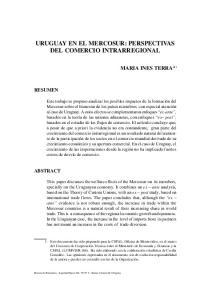 URUGUAY EN EL MERCOSUR: PERSPECTIVAS DEL COMERCIO INTRARREGIONAL