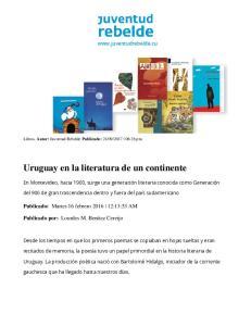 Uruguay en la literatura de un continente