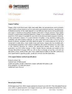 US Copper. Fact sheet. Introduction. Copper Trading