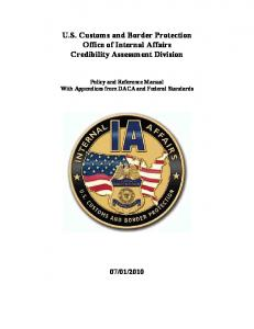 U.S. Customs and Border Protection Office of Internal Affairs Credibility Assessment Division