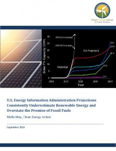 U.S. Energy Information Administration Projections Consistently Underestimate Renewable Energy and Overstate the Promise of Fossil Fuels