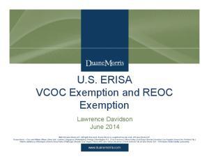 U.S. ERISA VCOC Exemption and REOC Exemption