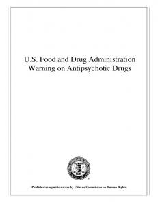 U.S. Food and Drug Administration Warning on Antipsychotic Drugs