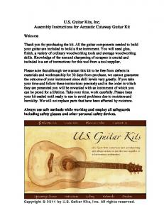 U.S. Guitar Kits, Inc. Assembly Instructions for Acoustic Cutaway Guitar Kit