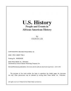 U.S. History People and Events in African-American History