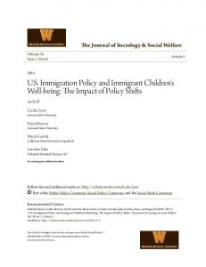 U.S. Immigration Policy and Immigrant Children's Well-being: The Impact of Policy Shifts