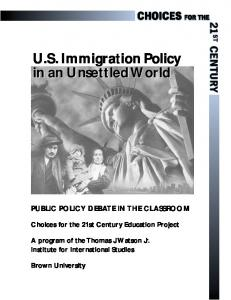U.S. Immigration Policy in an Unsettled World