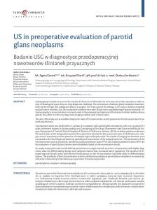 US in preoperative evaluation of parotid glans neoplasms